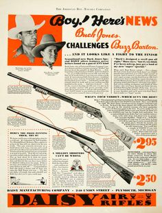 1934 Ad Daisy Air Rifle Buck Jones Buzz Barton Cowboy 240 Union St Plymouth MI #vintage #guns #daisy