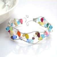 Wire Wrapped Bangle Bracelet Using Leftover Beads