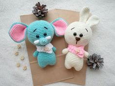 Cute bunny with scarf  amigurumi crochet toy. Gift for kids.