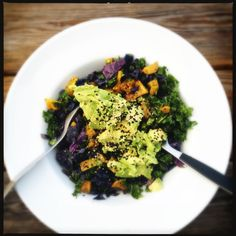 An easy salad for the summer that still feels like a meal is using kale instead of lettuce. Here is the marinated kale, roasted and chilled yellow beets, sautéed red cabbage, with sliced avocado and sesame seeds.