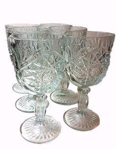 Vintage Hobstar Libbey Glass Water, Tea Large Goblets