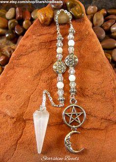 Selenite & Moonstone Pentagram Moon Pendulum by StarshineBeads on Etsy Etsy Jewelry, Jewellery, Unique Jewelry, Pendulum Board, Crystal Pendulum, Practical Magic, Moon Charm, Love To Shop, Etsy Crafts