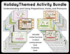 Speech Therapy: Pronouns, Prepositions & Verbs - Holiday Bundle. Year round therapy includes a packet for Valentine's, St. Patty's, Easter, Halloween, Thanksgiving and Christmas!