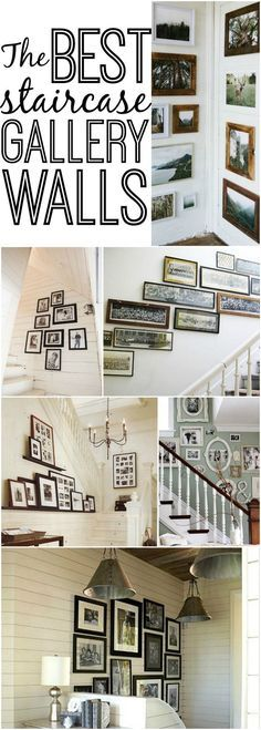 The best staircase gallery walls - Great inspiration for dressing up the walls by your stairs!