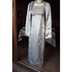 Elegant Silver Grey Silky Satin Long Evening Dress with Lace Bodice in size matching throw for Lace Bodice, Lace Dress, Ball Dresses, Evening Dresses, Duster Coat, Kimono Top, Size 10, Satin, Elegant