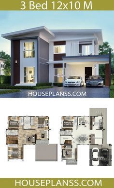 House Plans Design Idea with 3 bedrooms - House Plans Sam Modern Small House Design, Simple House Design, Contemporary House Plans, House Front Design, Minimalist House Design, Small Modern Home, 2 Storey House Design, Duplex House Plans, Bungalow House Design