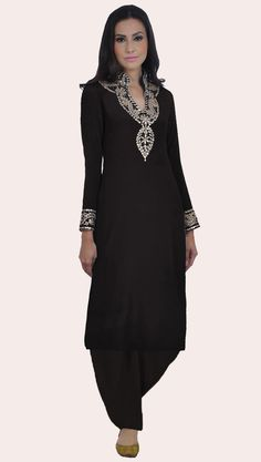 Black Hand Embroidered Gota Patti Pure Crepe Suit