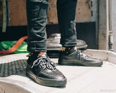 a2721d43a796e9 Black Tukskin™ Zipper D-Ring VLK Creeper Sneaker