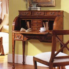 Walnut Roll Top Secretary Desk