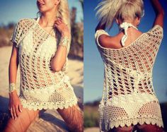 Knitted set Underwear Set Crochet bikini by RavvinskaCrochets