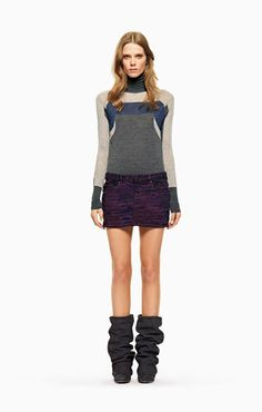 see by chloe Mix viscose and polyamide turtleneck sweater Printed cotton skirt