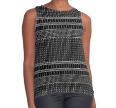 White Dot Square Patterned Printed Contrast Tank