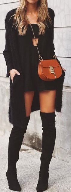 #fall #street #style   All Black + Pop Of Camel