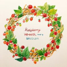 난 리스도 꽃이아닌 먹는걸로 그린다!!ㅋㅋㅋㅋㅋ 私はリースも花じゃなくて食べ物を描くんだ!!! #raspberry…