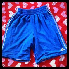 ADIDAS BASKET BALL SHORTS Blue with grey stripes basketball shorts. There are two front pockets for keys and stuff. These are a size small. Adidas Shorts