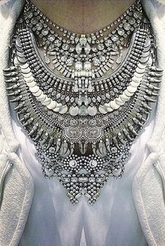 Ethnic Silver Necklace..., Very rare to find but simply stunning, vintage ethnic jewelry from Morocco and India in Silver are among my favorites. Have no fear to mix and match them with rhinestones and wood over a white linen shirt…you sta