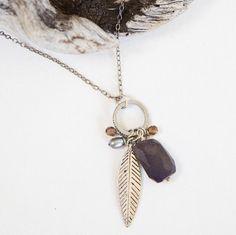 Antique Silver 30 Necklace leaf charm labradorite by LeoandLovey