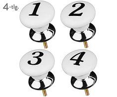 Möbelknäufe-Set Numbers, 4-tlg., weiß, Ø 4 cm