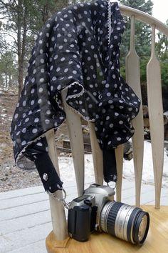 Black and white Polka Dots Scarf Camera Strap by LivingInMonument on Etsy
