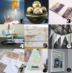 Map Crafts - 1.Map Lamp from College Life DIY 2.Vintage Map Balls from Crafts N' Cofee 3.Map Wallet from By Wilma 4.Travel Tape from The Mayberry Home Journal 5.Map Covered Box from Wear the Canvas 6.Map Bunting from Please Note 7.Vintage Map Monogram Note Card Set from Ellinee Journal 8.Map Letter Decor from Lexi Levin 9.DIY Mapped Frame from Hello Lidy