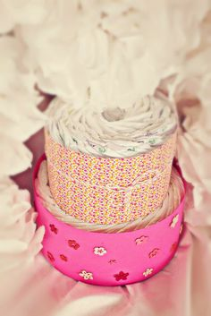 two tier diaper cake - spring style