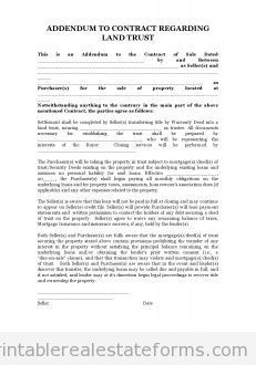 Printable Sample land trust addendum Form