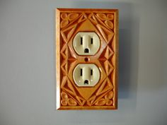 Outlet cover plate all hand carved wood plate. by creativemind44, $22.00