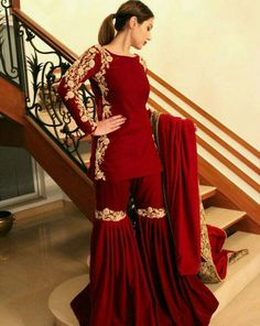 66 new Ideas for indian bridal suits style Sharara Designs, Seoul Fashion, Tokyo Fashion, Punk Fashion, Indian Designer Outfits, Indian Outfits, Emo Outfits, Trendy Outfits, Red Lehenga