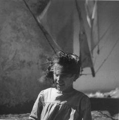 Windy day on Santorini island in 50's!!!  [Santorini island, 1950-55. Photo by Voula Papaioannou. Benaki Museum Photographic Archives]