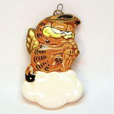 vtg Garfield angel ornament 1981 Enesco ceramic Christmas cloud cat