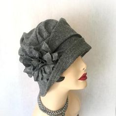 Black Wool Cloche -Flapper Style Hat - Flower Brooch - Couture Millinery - The Alice The Alice is a vintage inspired beautiful Accessory. Alice has beautiful detailing in the draping of the crown. Des