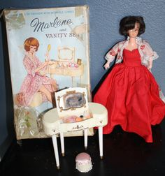 Marlene and Vanity Set by Marx Brunette Barbie Clone Doll with Red Dress 1960s | eBay