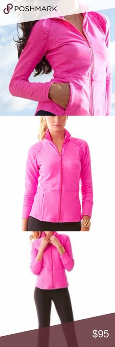 """Lilly Pulitzer Weekender Jacket in Capri Pink Pet Free Household No Trades! Brand New with Tags! Zipper works perfectly. No flaws!   LUXLETIC WEEKENDER JACKET  DESCRIPTION  The Weekender Jacket is Lilly's take on what to do on your morning walk, coffee runs or days when you're just not ready for a """"real outfit."""" Luxletic™ is what you wear for your morning coffee run or running errands. Love.  Jacket With Funnel Neck And Shirred Raglan Sleeve. Jacket Weight Powerstretch (53% Nylon, 38%…"""