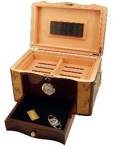 """Cuban Crafters Cuban Elegance Humidor by Cuban Crafters. $149.99. Included humidification system. Mounted, external analog hygrometer. High gloss rosewood with matching inlays. Fully lined with premium kiln dried Spanish cedar. 1 Year Warranty, 120 CIGAR CAPACITY. """"Cuban Elegance with rich high gloss piano shine, rosewood,birdseye maple burl top and inlay, spanish cedar interior, humidification system and external hygrometer - 120 CIGAR CAPACITY"""