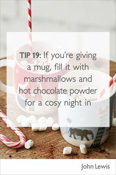 Winter warmers are the perfect gift. If you're thinking of giving someone a mug, why not fill it with marshmallows and hot chocolate powder for a cosy night in? To find a mug to suit every taste, visit John Lewis in store or online. Christmas 2017, Christmas Presents, Xmas, Chocolate Powder, Hot Chocolate, Cosy Night In, Winter Warmers, Marshmallows, Giving