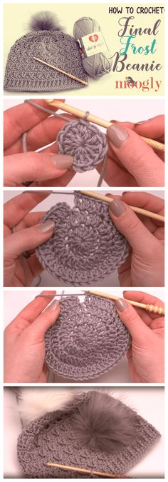 Crochet Beanie Ideas Crochet Final Frost Beanie - Free Crochet Patterns ✔ - The Final Frost Beanie is super cozy, on trend, and features a stitch pattern that gives it amazing texture (without too much bulk)! Make your own with Red Heart Chic [. Crochet Crafts, Easy Crochet, Crochet Projects, Knit Crochet, Crochet Shawl, Tutorial Crochet, Beginner Crochet Hat, Quilting Projects, Crocheted Hats