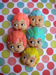 Carnival Doll Cupie Heads, Rainbow, Handmade, Lisa Kettell