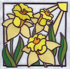 Stained Glass Daffodil Square