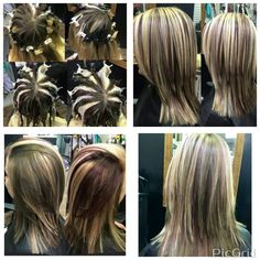 Pinwheel Hair Color. Blonde, Brunette, and Natural Red---Hairstylist: Laurel C.