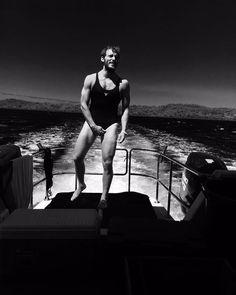 """Photo c/o Sam Claflin wears """"Adrift"""" co-star Shailene Woodley's swimsuit (August Sam Reid, Mens Leotard, Sam Worthington, Miles Teller, Summer Jobs, Sam Claflin, Shailene Woodley, New Movies, Bathing Suits"""