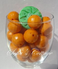 Chunky Orange Faceted 20mm Beads 6ct 10ct or 20ct by SofiasCottage, $1.50