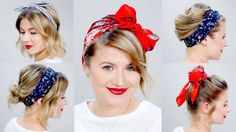 5 Minute Super Easy Heatless Hairstyles for Short, Medium, Shoulder-Length, or long hair with a bandana, headband or scarf. SUBSCRIBE to my channel HERE http...