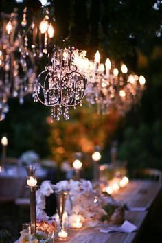 "lights and chandeliers.. oh I would LOVE to be able to do this in my ""dream"" backyard:) Wedding Bells, Wedding Reception, Wedding Tables, Party Tables, Dream Wedding, Wedding Day, Chic Wedding, Garden Wedding, Wedding Photos"