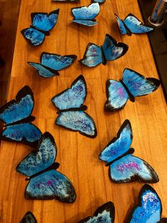 This is part of a Year 3 KS2 classroom display that I am making for the topic of rainforests. Love the shimmery blue and purple glitter for the Morpho Butterfly wings.