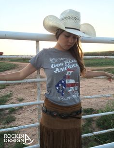 God Bless America polyester cotton heather grey by RockinAdesign handmade, graphic tee, Rockin A Design, t shirt, cowgirl, cowboy, rodeo, American Flag, bucking horse, bronc rider, God Bless America, western, wholesale