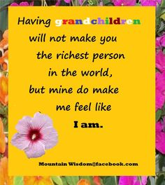 Having Grandchildren may not make you the richest person. Favorite Quotes, Best Quotes, Quotes About Grandchildren, Grandmothers Love, Grandma And Grandpa, True Feelings, Quotes For Kids, Sign Quotes, Amazing Quotes