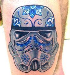 Yeah!  A Flowery Star Wars Stormtrooper Tattoo - this is brilliant/ Stormtrooper Sugar Skull Inspired Tattoo