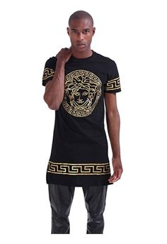 Checkout PIZOFF Unisex Golden Medusa Luxury Extra Long Baroque Side Zip T Shirt