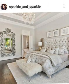 Master bedrooms decor - Luxury Romantic Bedroom with white tufted bed and shipskin bench Romantic Bedroom Decor, Home Decor Bedroom, Modern Bedroom, Contemporary Bedroom, Bedroom Colors, Classy Bedroom Ideas, Budget Bedroom, White Bedroom Furniture Elegant, Bedroom Ideas Purple