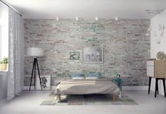 White Exposed Brick Walls Bedroom Design With Cool White Drum Shade Floor Lamp…